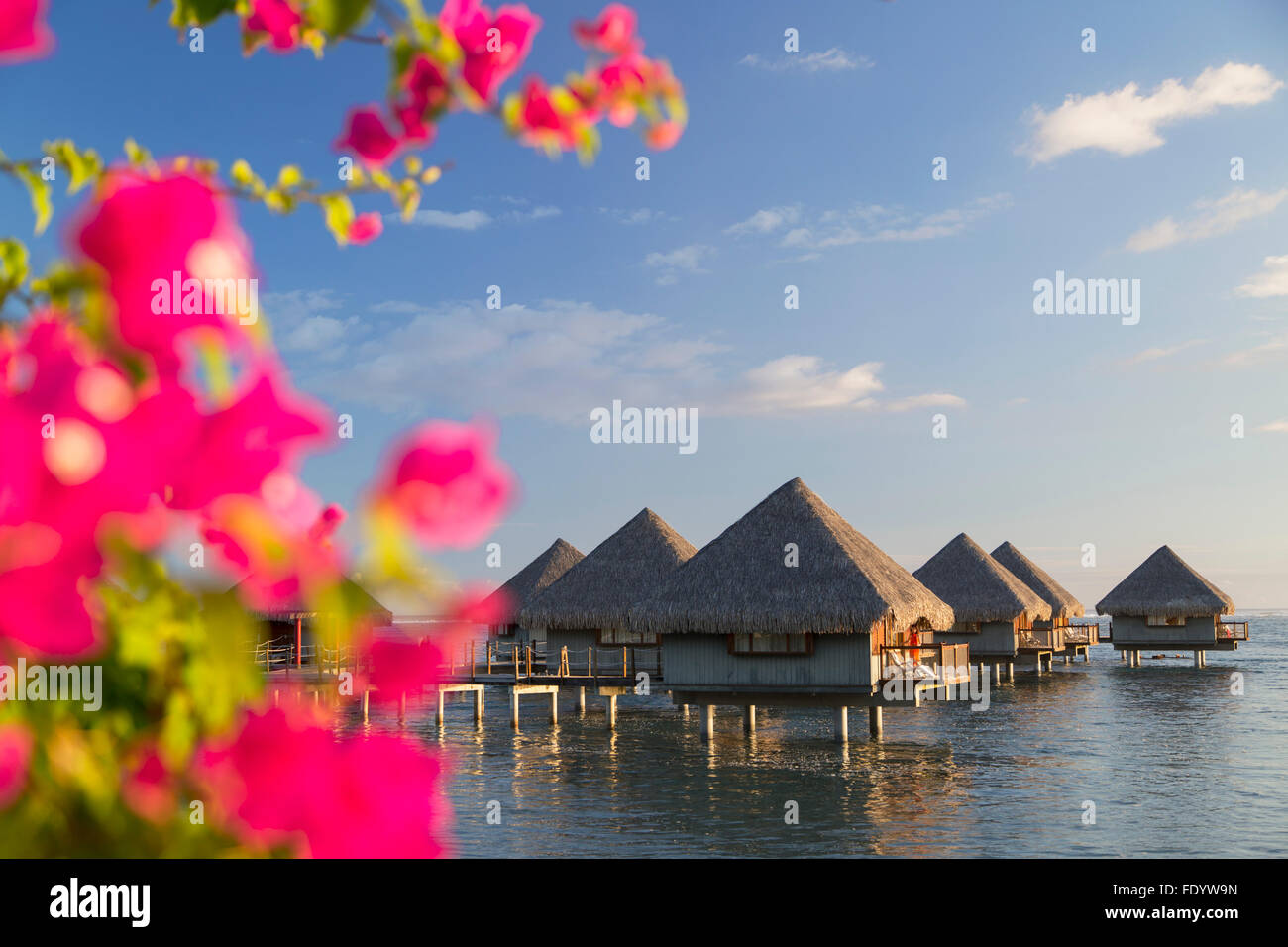 Overwater bungalows at Le Meridien Tahiti Hotel, Pape'ete, Tahiti, French Polynesia - Stock Image