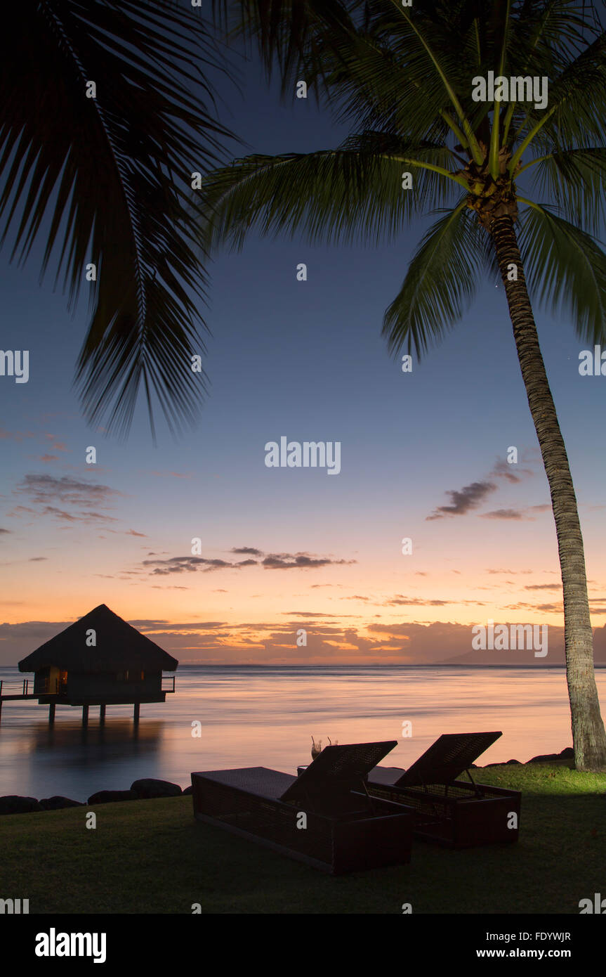 Le Meridien Tahiti Hotel at sunset, Pape'ete, Tahiti, French Polynesia - Stock Image