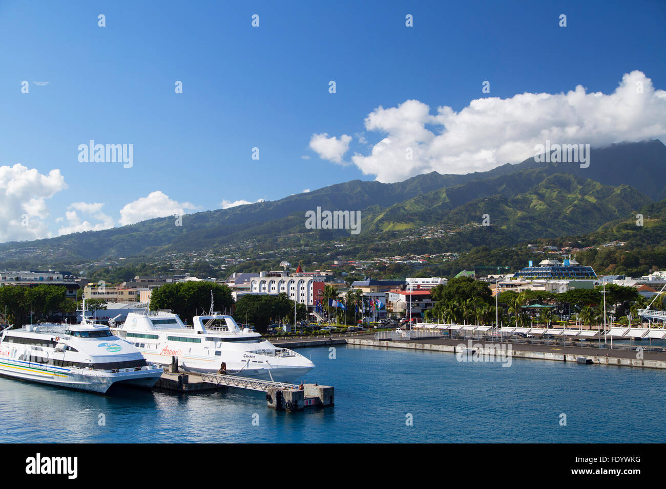 Boats in harbour, Pape'ete, Tahiti, French Polynesia Stock Photo