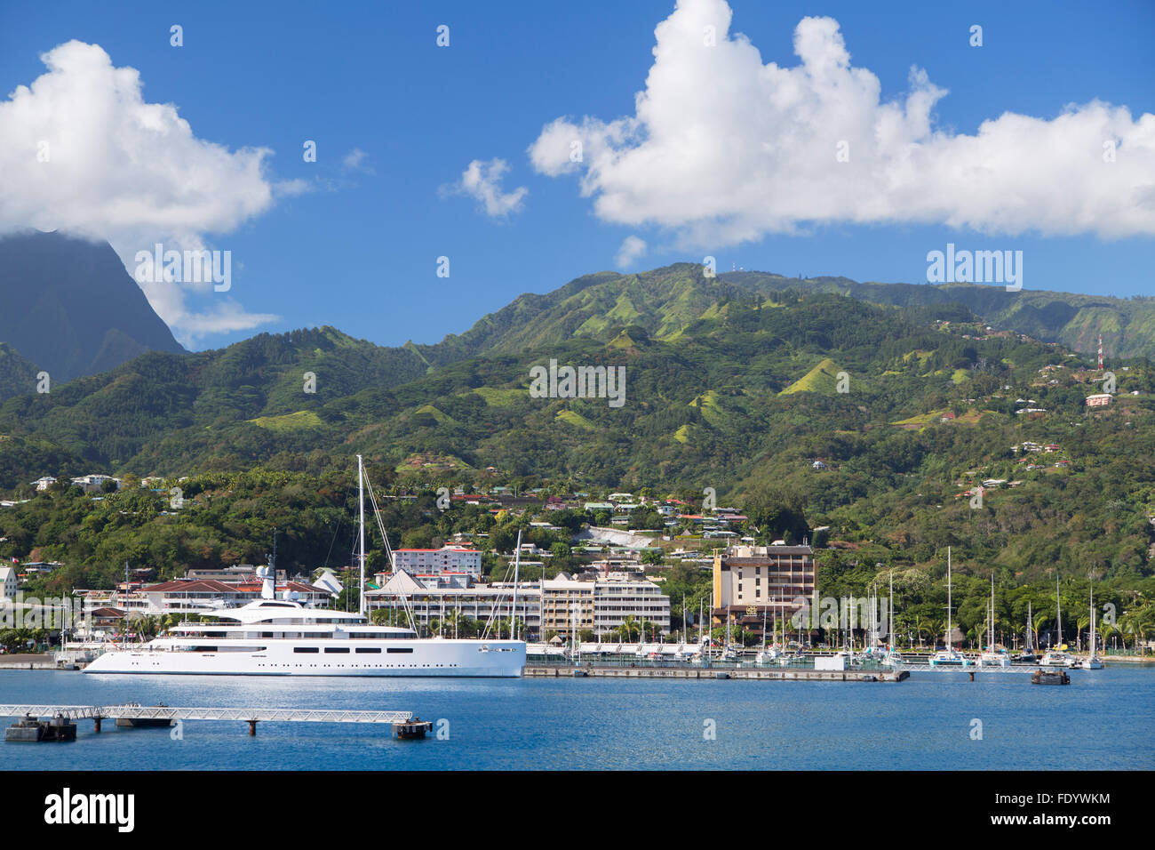 Yacht in harbour, Pape'ete, Tahiti, French Polynesia - Stock Image