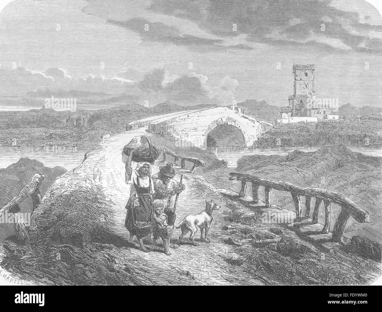 ROME: Ponte Salario, antique print 1872 - Stock Image