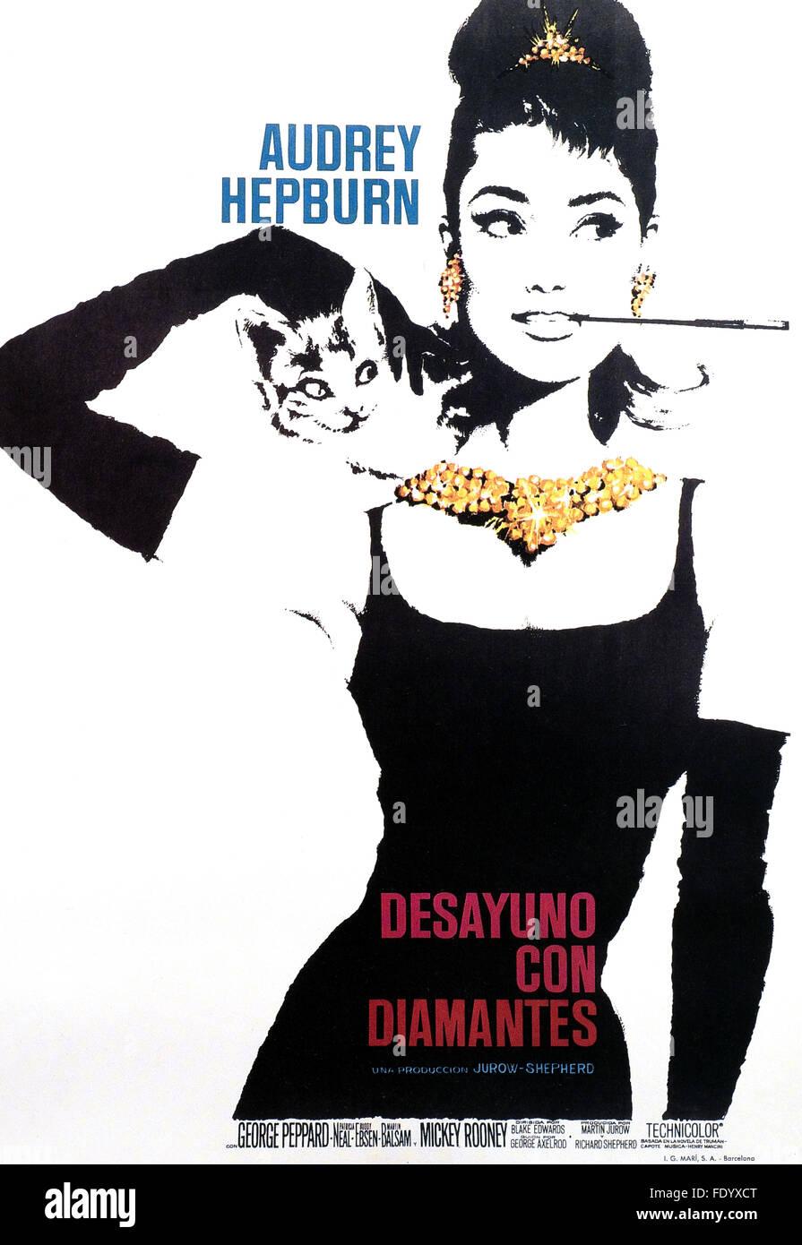 Breakfast at Tiffany's - Spanish Movie Poster - Stock Image