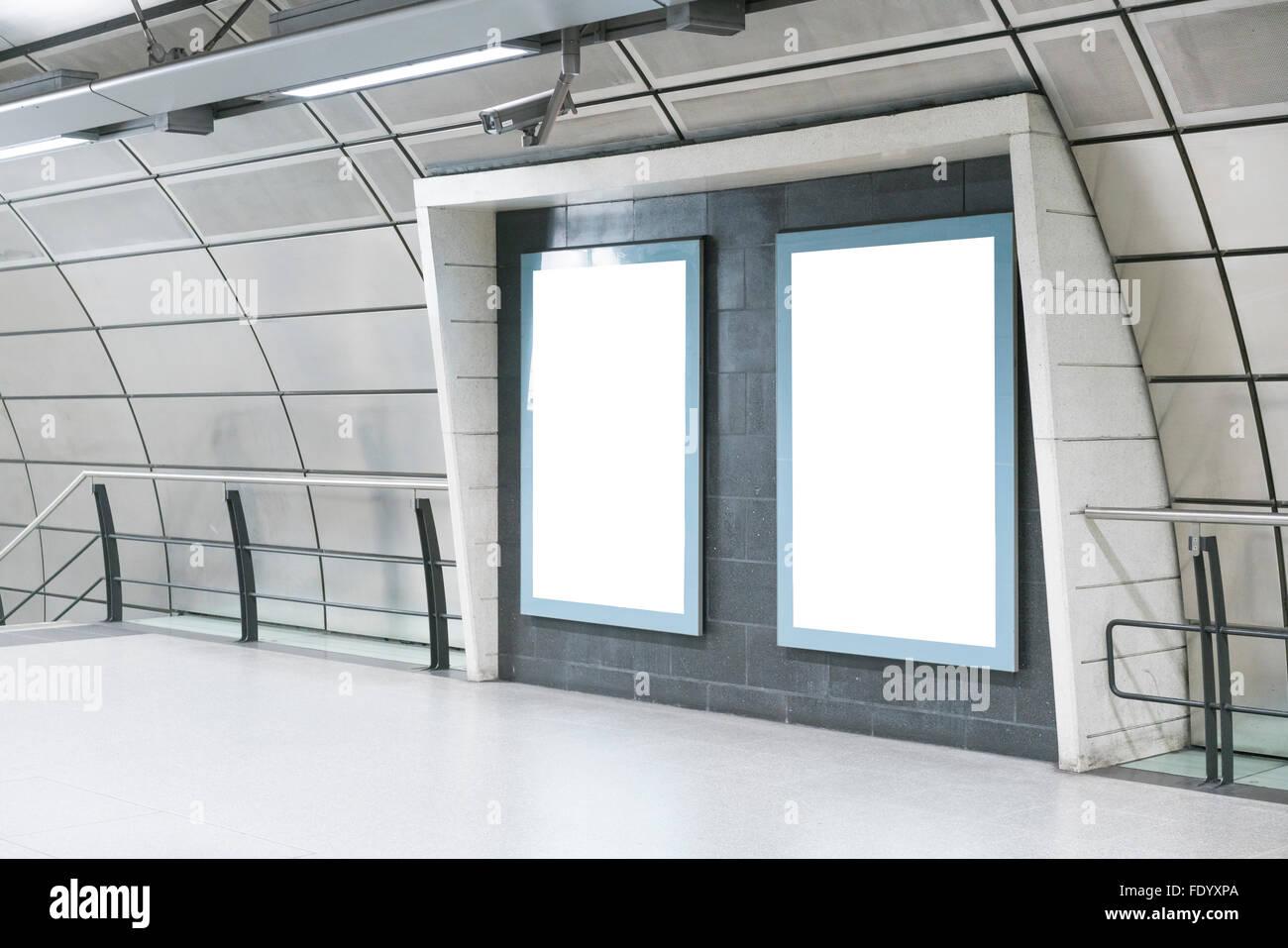 BLANK TEMPLATE BILLBOARD POSTER ON LONDON UNDERGROUND METRO, LONDON, UNITED KINGDOM, HIGH QUALITY - Stock Image