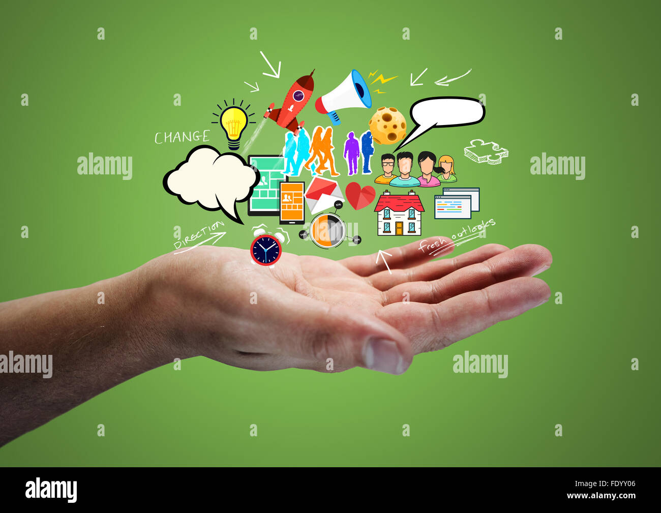 Creative Thinking. A man holding ideas. - Stock Image