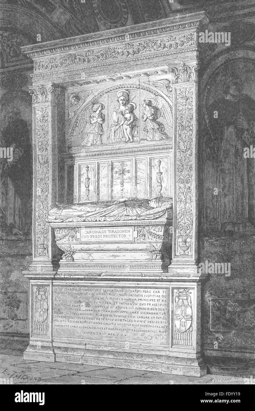 ROME: Tomb of Cardinal Ferrici, Minerva, antique print 1872 Stock Photo