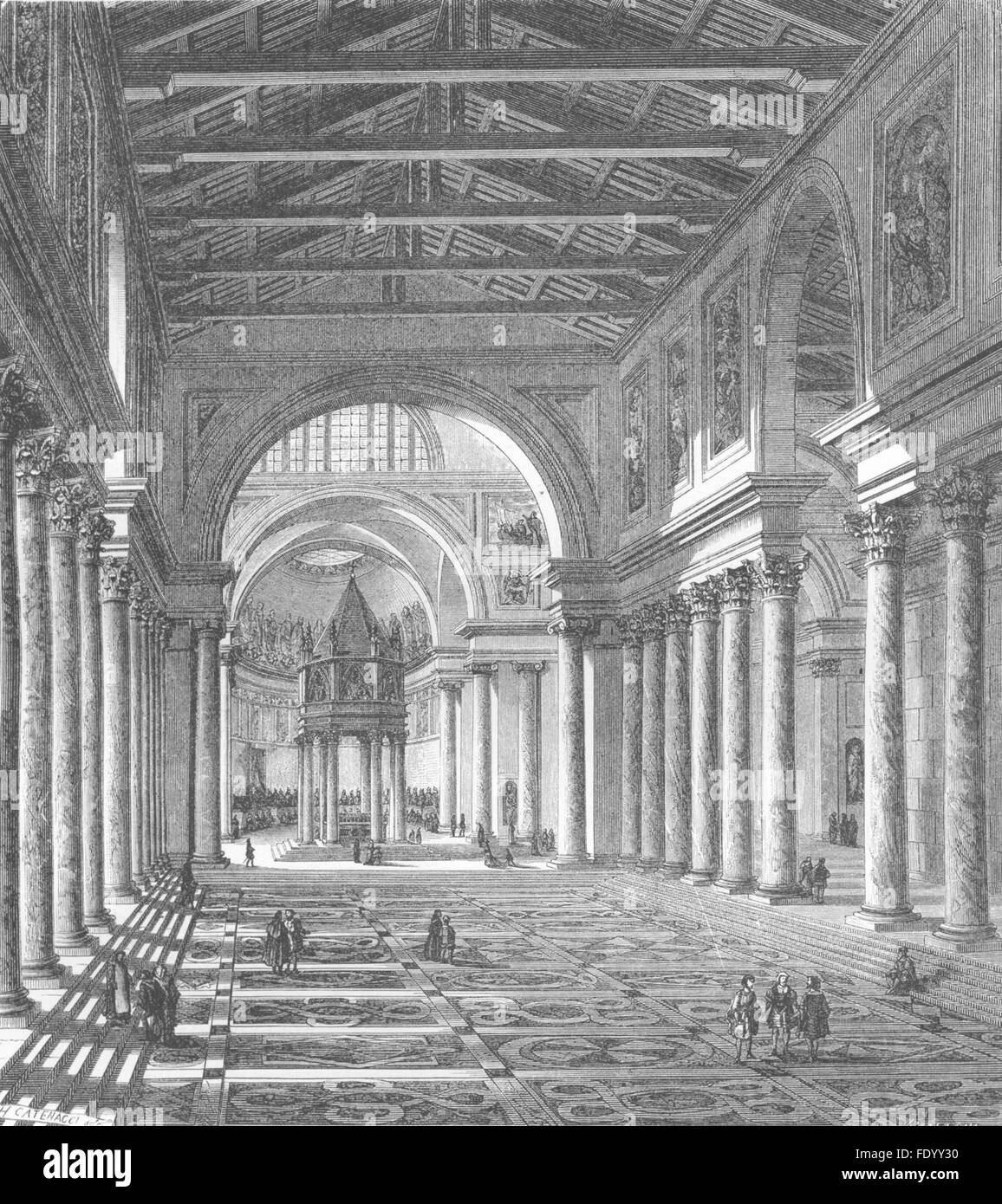 ROME: Constantinian Basilica of St Peter's, antique print 1872 Stock Photo