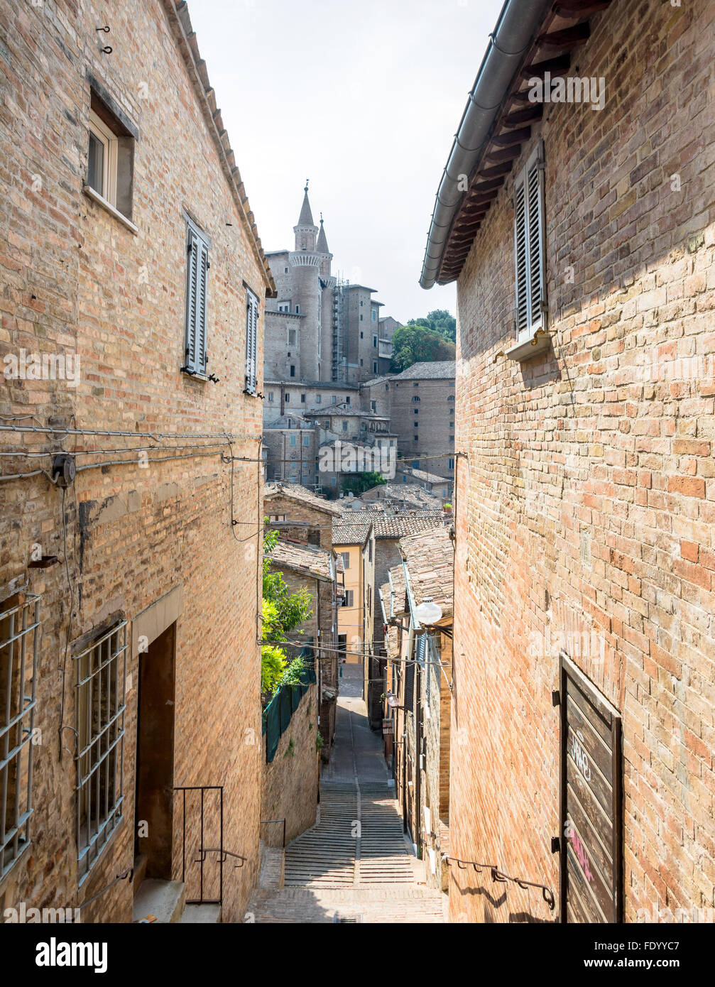 street view with skyline in Urbino, Italy. - Stock Image