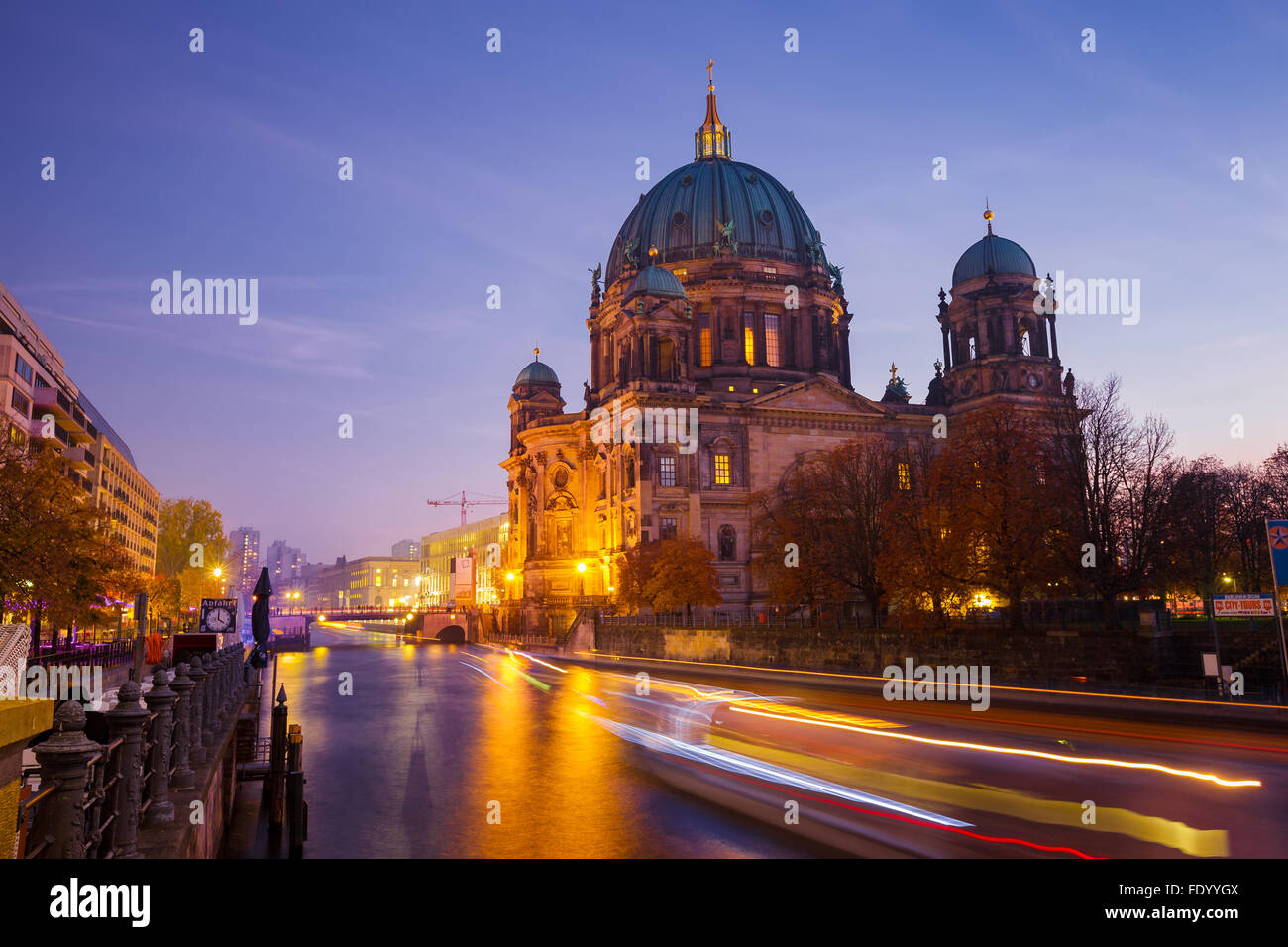 BERLIN, GERMANY - OCTOBER 31, 2015 : Night view of Berlin Cathedral from the banks of the River Spree. - Stock Image