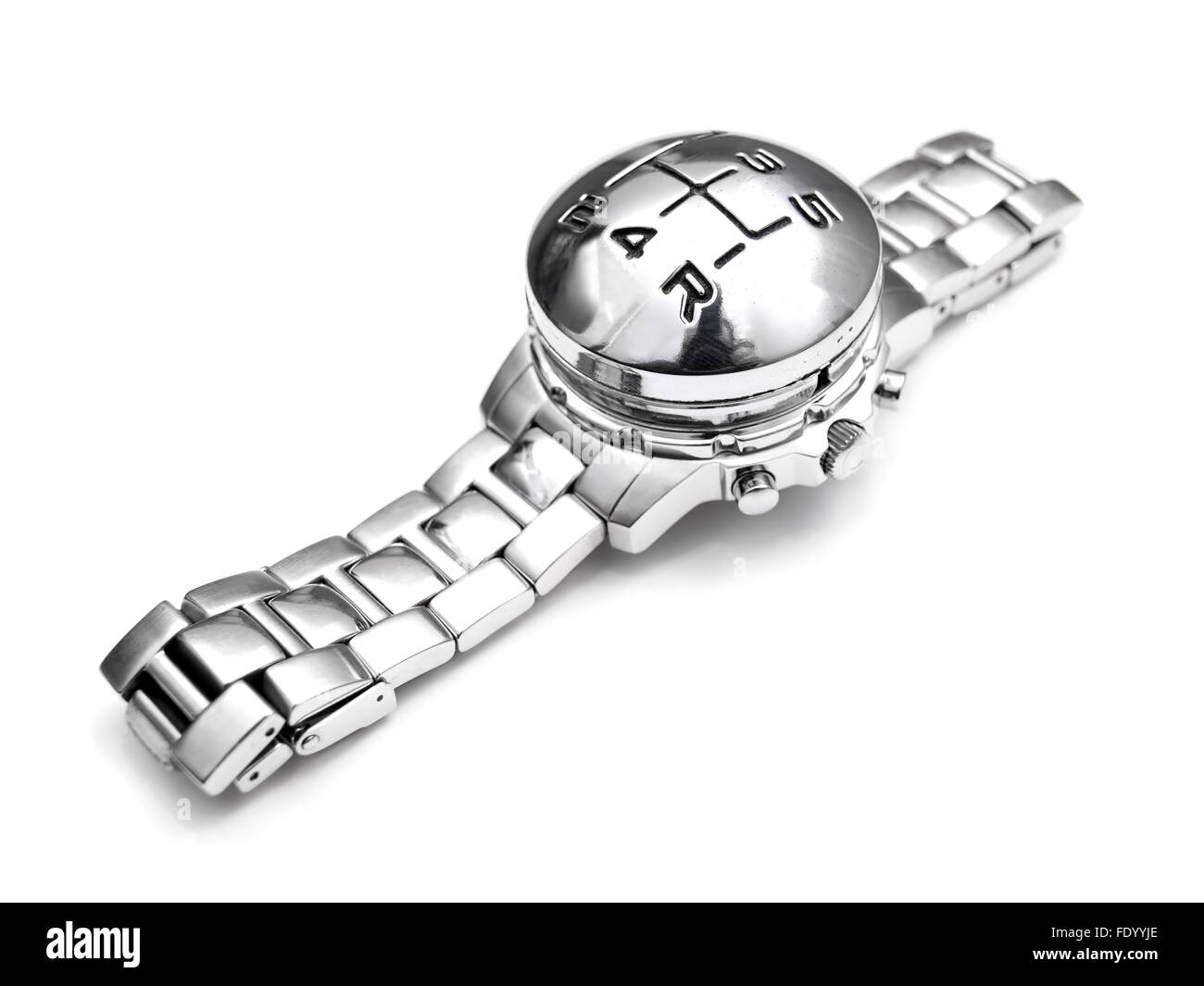Wristwatch with gearshift speed marks instead of clock face on a white background. - Stock Image