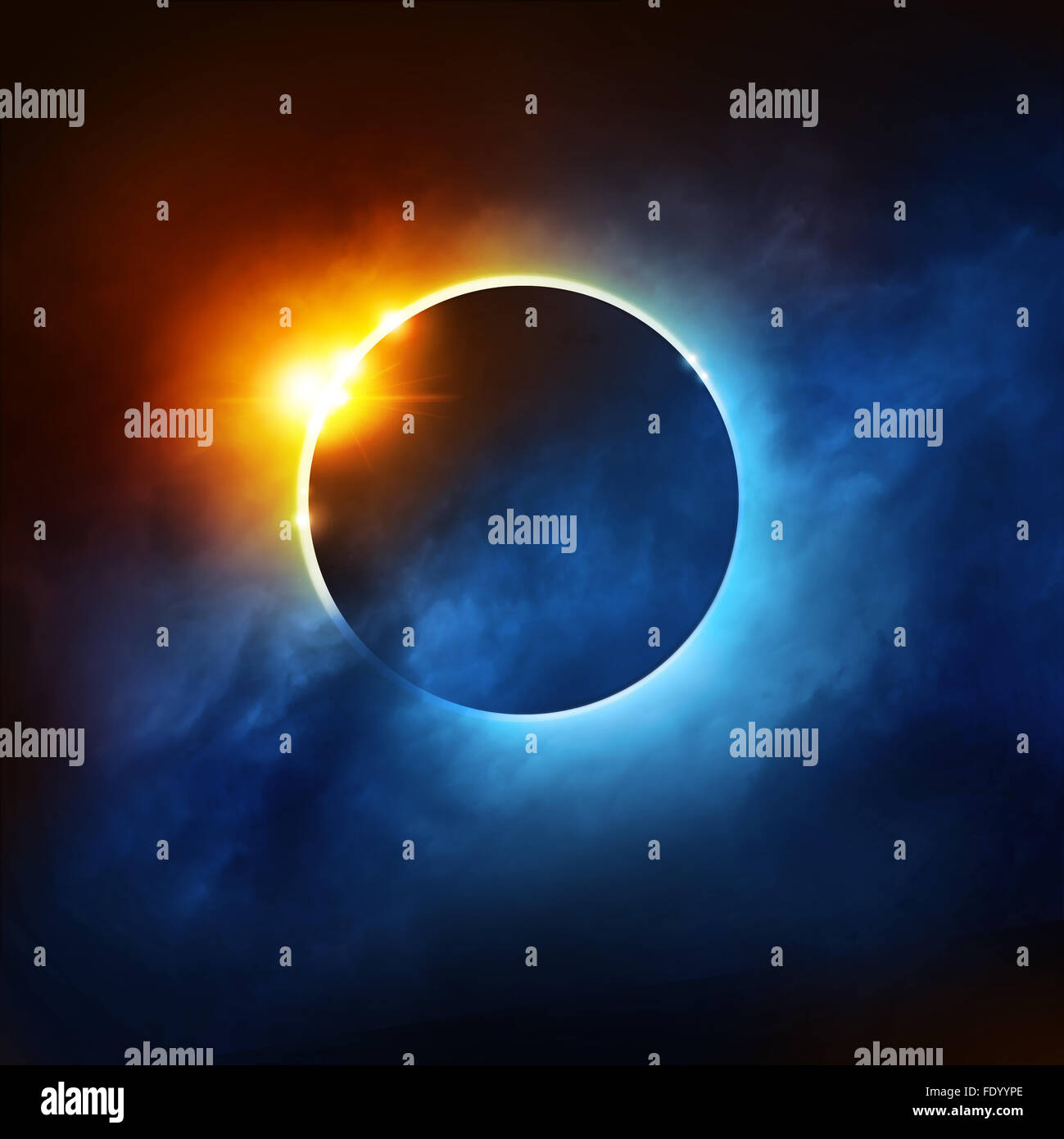 A Total Eclipse of the Sun. Dramatic Solar Eclipse illustration. - Stock Image
