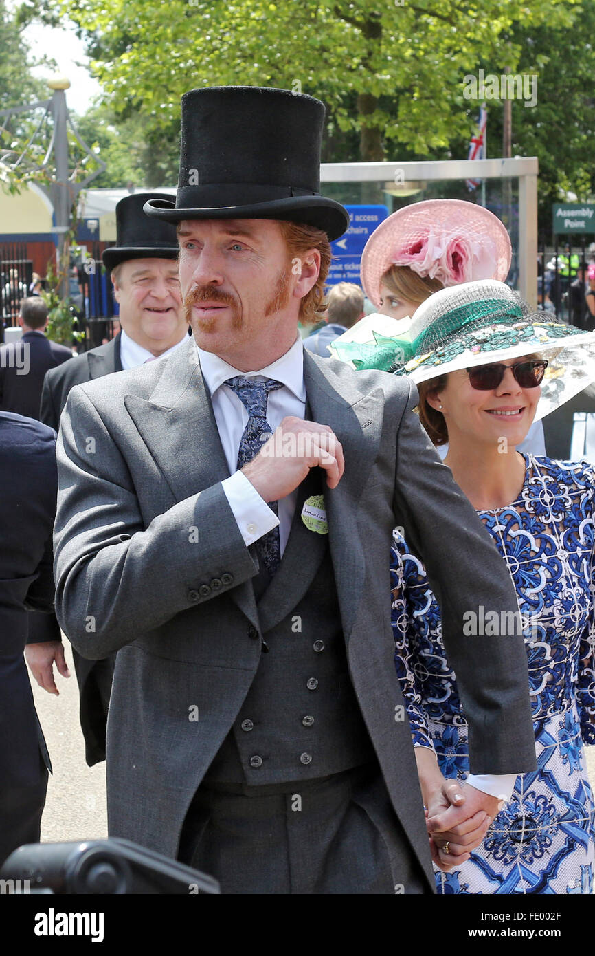 Ascot, United Kingdom, Damian Lewis, actor and his wife Helen McCrory - Stock Image