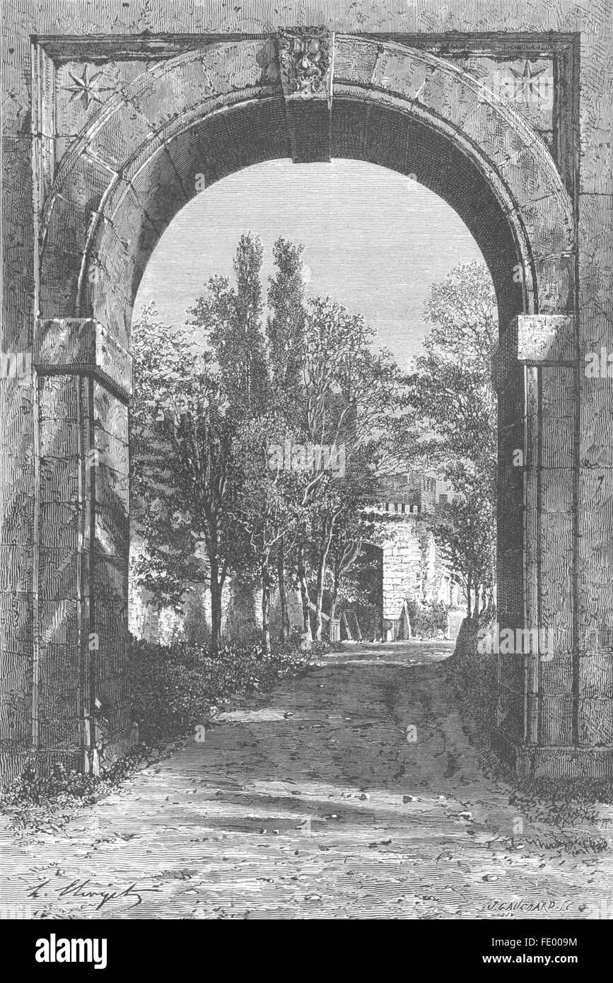 ROME: Arch of Acqua Felice, Tiburtine gate, antique print 1872 - Stock Image