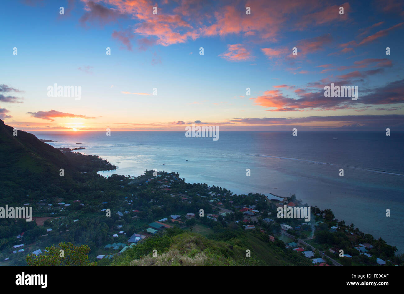 View of Papetoai at sunset, Mo'orea, Society Islands, French Polynesia - Stock Image