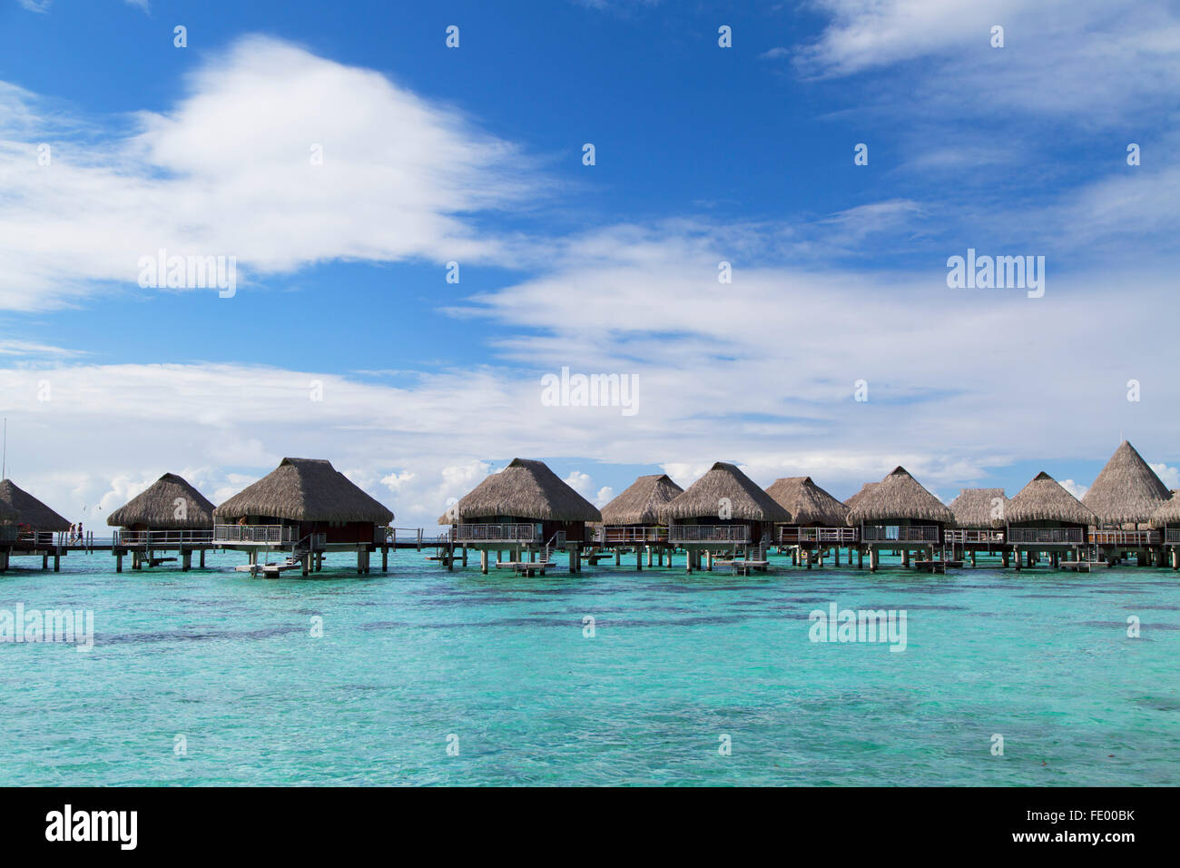 Overwater bungalows of Hilton Mo'orea Lagoon Resort Hotel, Moorea, Society Islands, French Polynesia - Stock Image