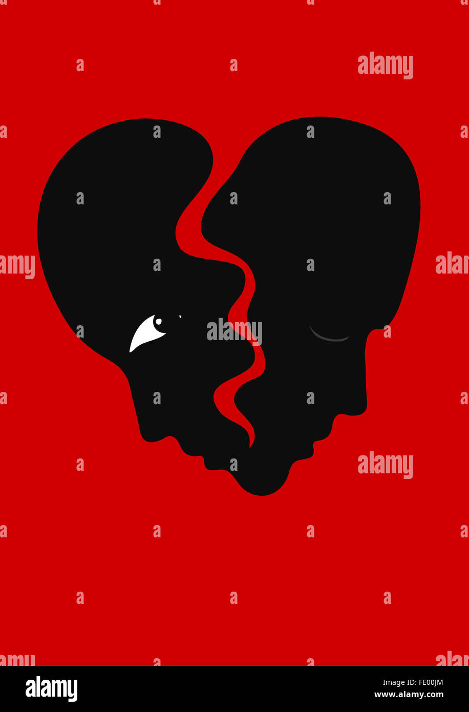 Two faces as a heart about to break. Illustration of a separation. Stock Photo