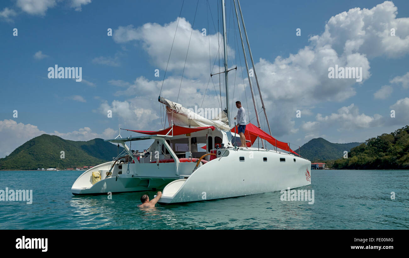 Sailing in the Gulf Of Thailand - Stock Image