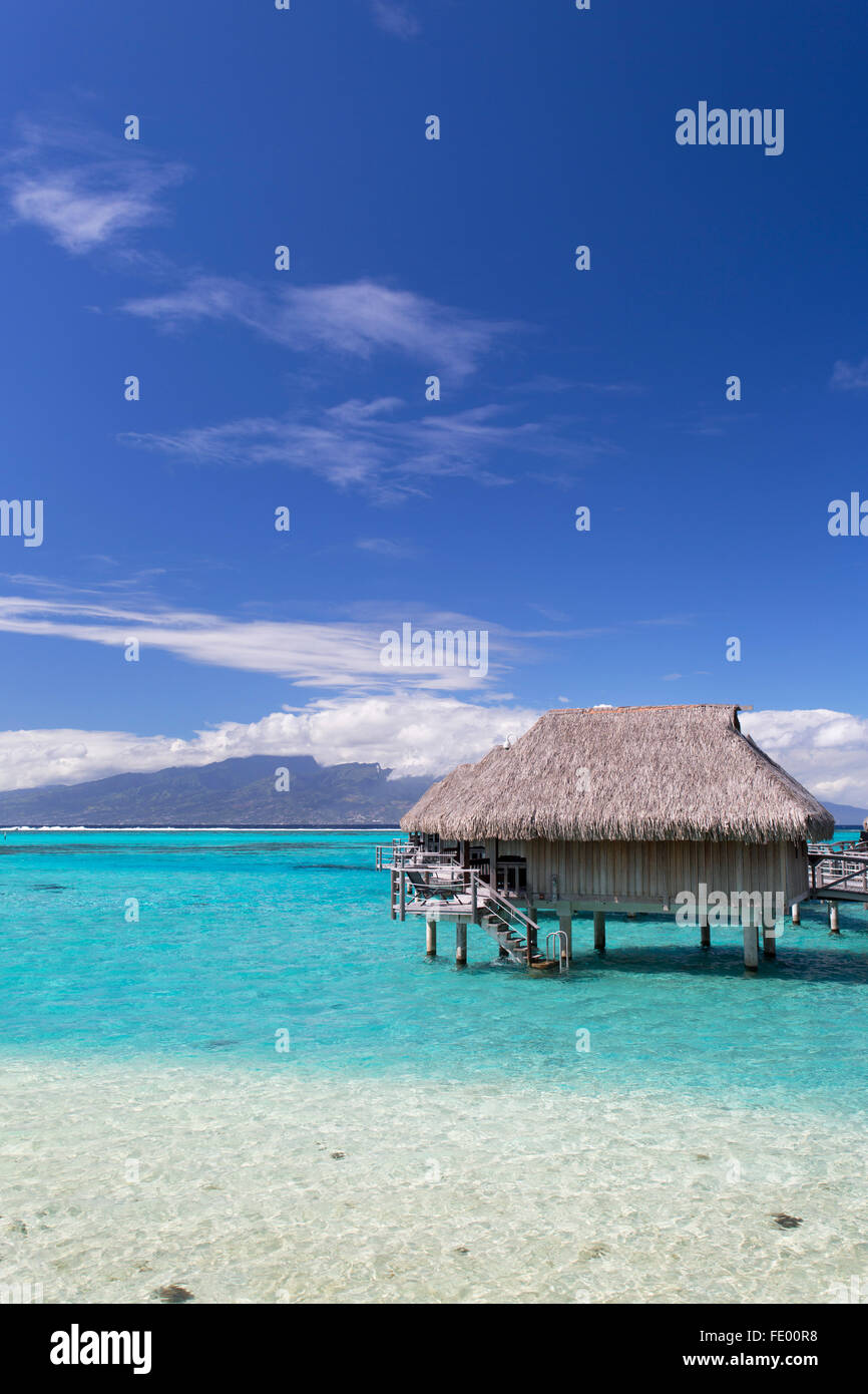 Overwater bungalows of Sofitel Hotel, Moorea, Society Islands, French Polynesia - Stock Image