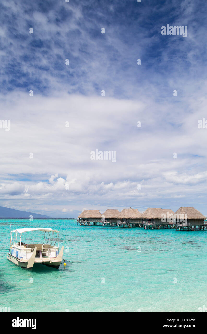 Overwater bungalows of Sofitel Hotel, Moorea, Society Islands, French Polynesia - Stock Image