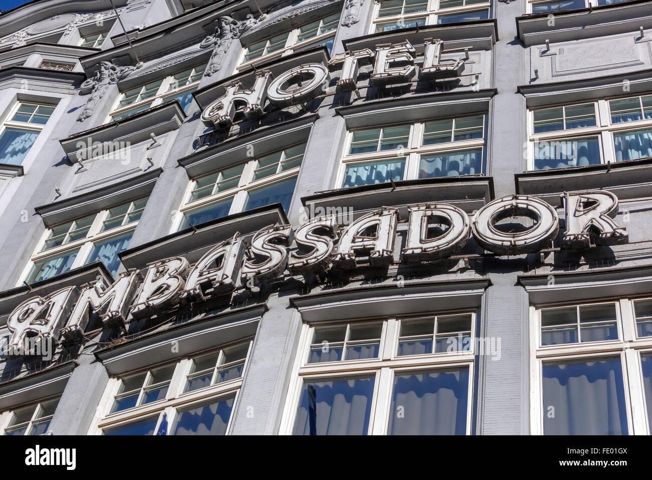 Facade Hotel Ambassador, Wenceslas Square, Prague, Czech Republic - Stock Image