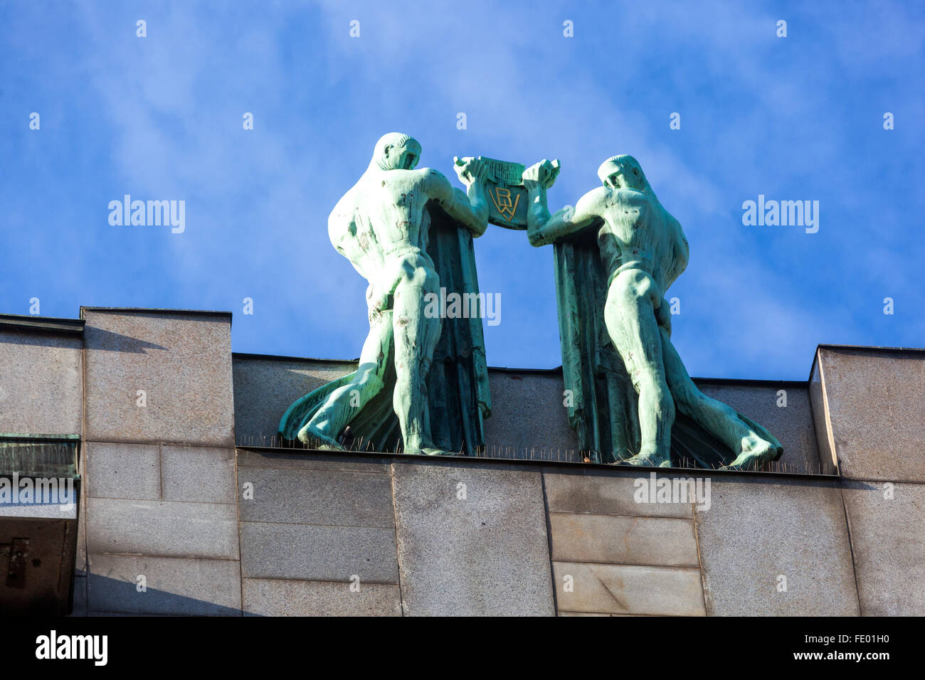 Art Nouveau sculptures on a rooftop in Na Prikope, Prague, Czech Republic, Europe - Stock Image