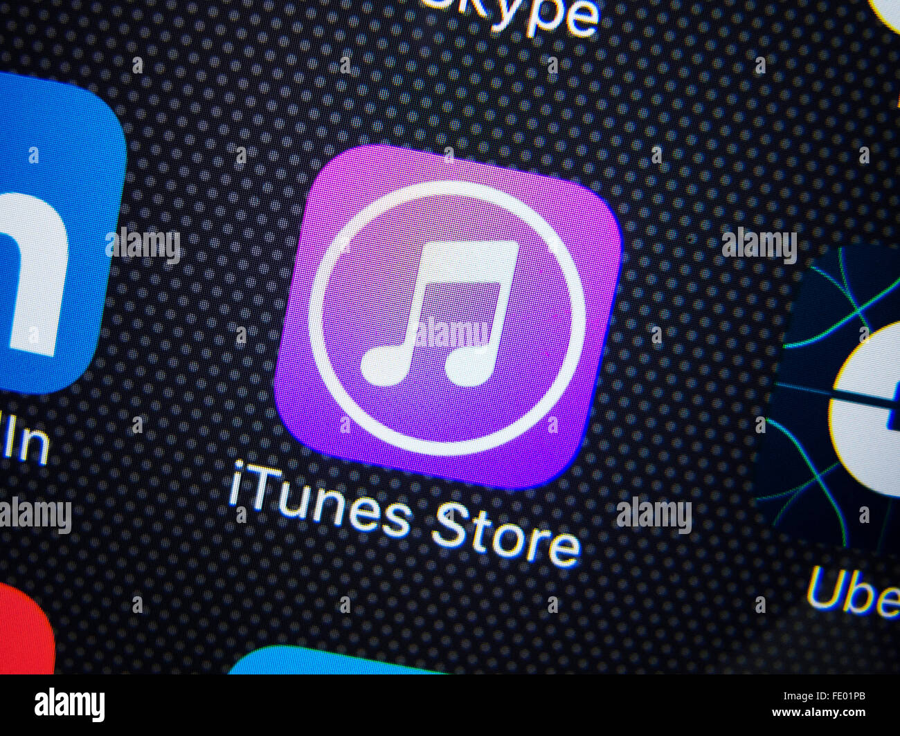 Detail of iTunes store app icon on iPhone - Stock Image