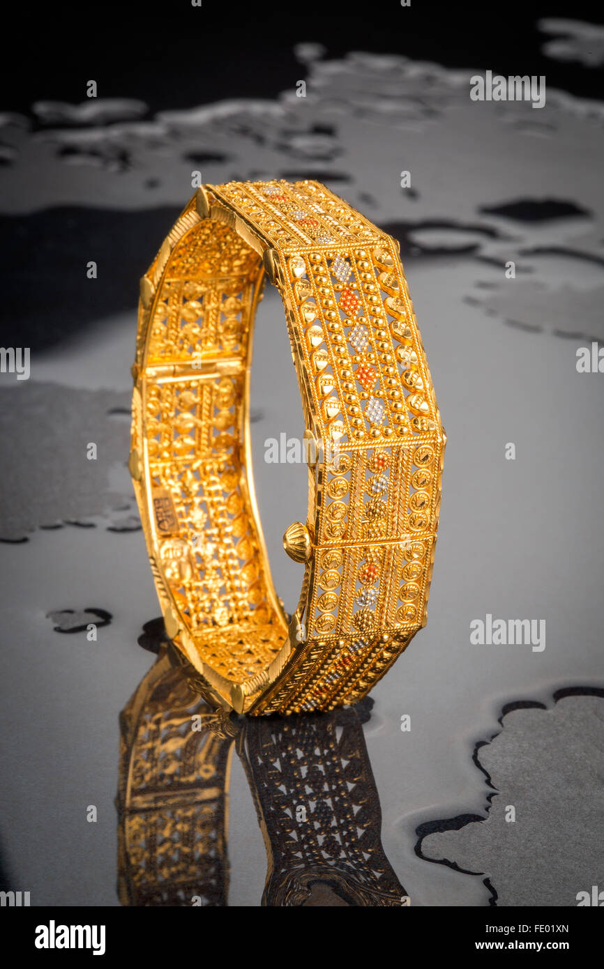 Gold Jewelry Gold Bangle Indian Jewelry Design Indian Contemporary Stock Photo Alamy
