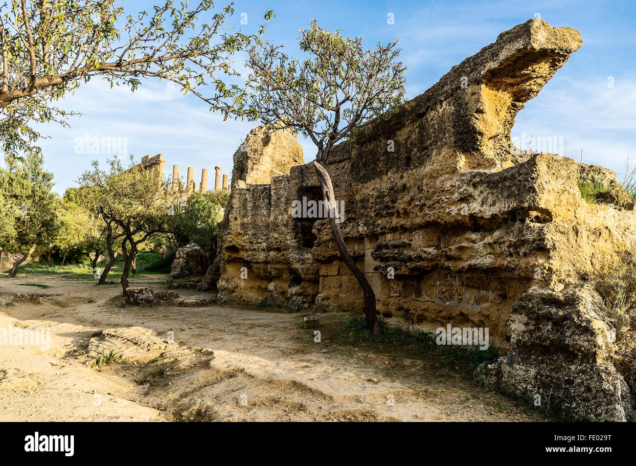 Temple in Agrigento, ancient Greek city of Akragas, Sicily, Italy Temple of Concordia in Agrigento, ancient Greek - Stock Image