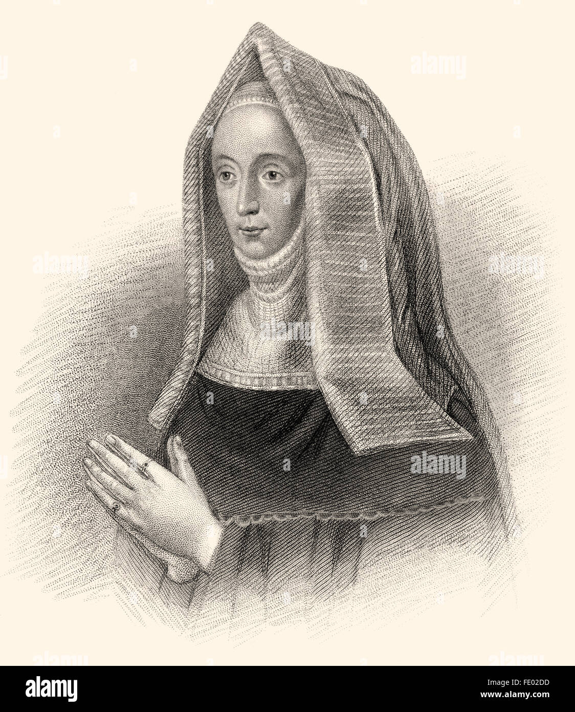 Margaret Beaufort, Countess of Richmond and Derby, 1443-1509, the mother of King Henry VII - Stock Image