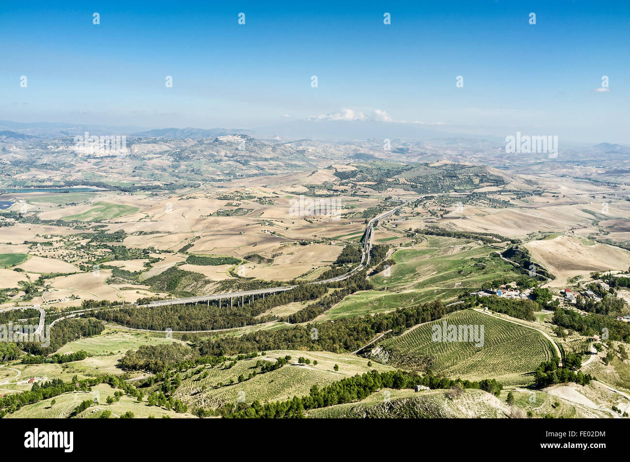 Elevated view of motorway landscape in Sicily, Italy - Stock Image