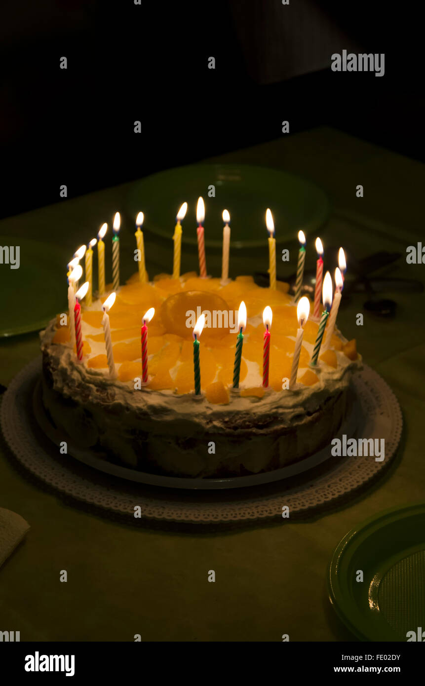 Amazing Lighted Candles On The Homemade Cake For Birthday Stock Photo Personalised Birthday Cards Veneteletsinfo