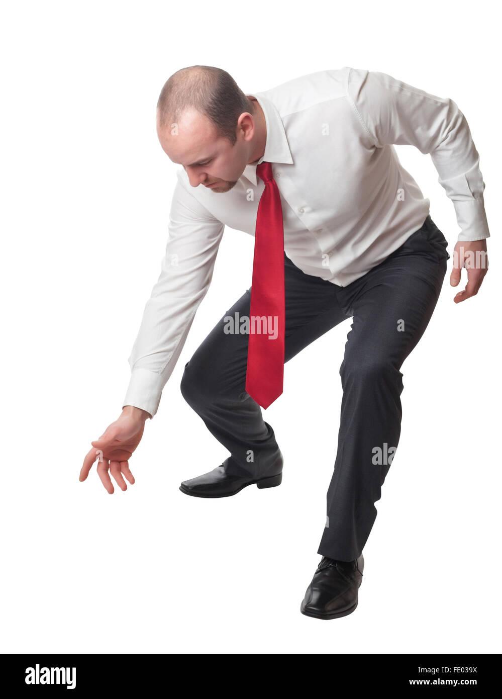 lowered man portrait isolated on white background - Stock Image