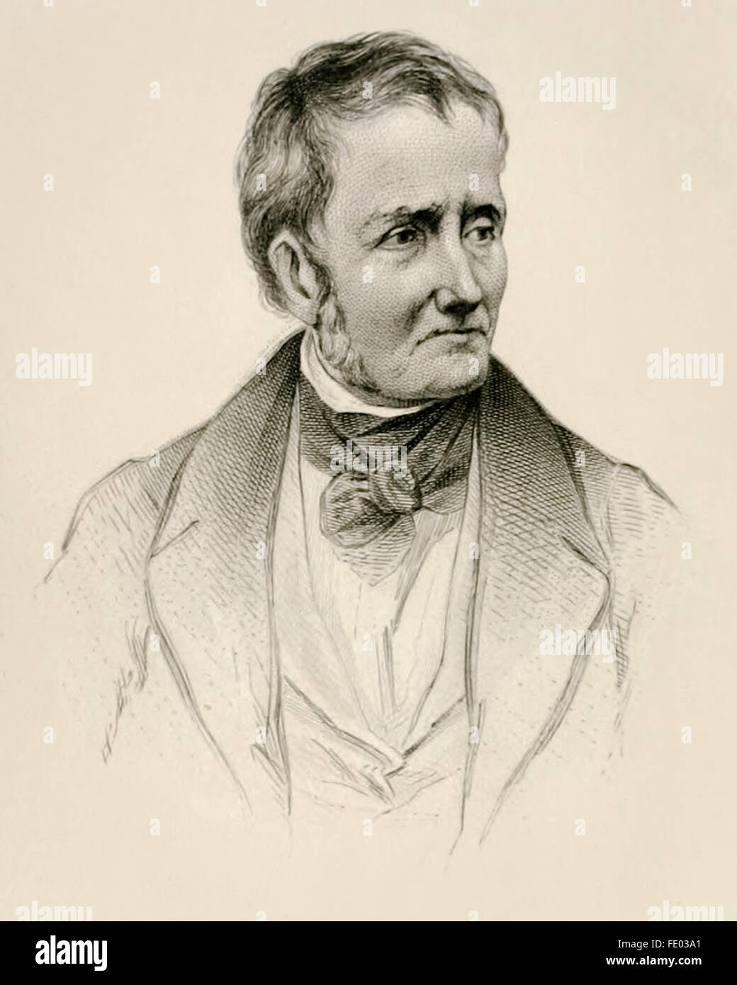 Engraving of Thomas De Quincey (1785-1859) author of 'Confessions of an English Opium-Eater' an autobiographical - Stock Image