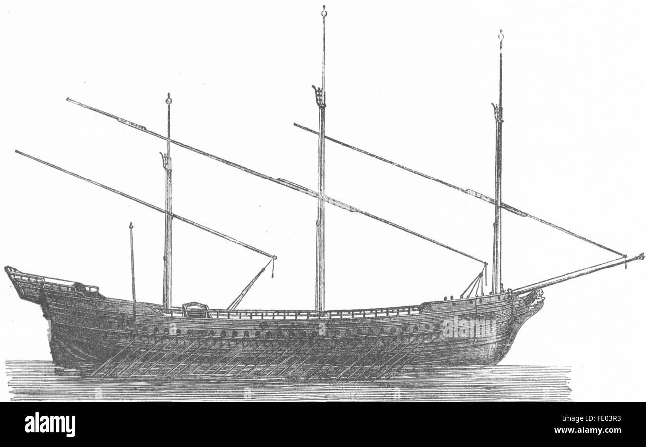 VENICE: Model of galleys Venetian fleet, antique print 1880 - Stock Image