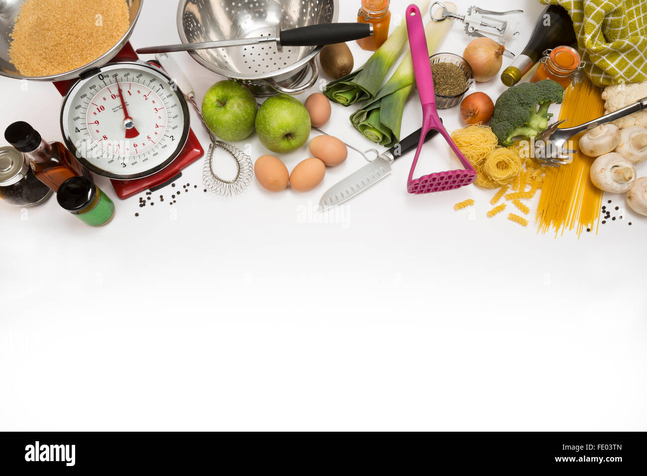 Cooking utensils, Food, Kitchen with Space for Text - Stock Image
