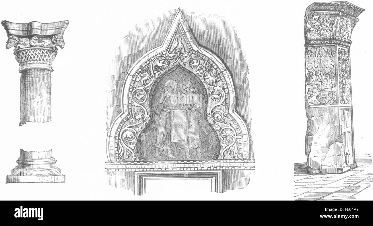 VENICE: St Marks: Column, Arabesque archivolt; Saba, antique print 1880 - Stock Image