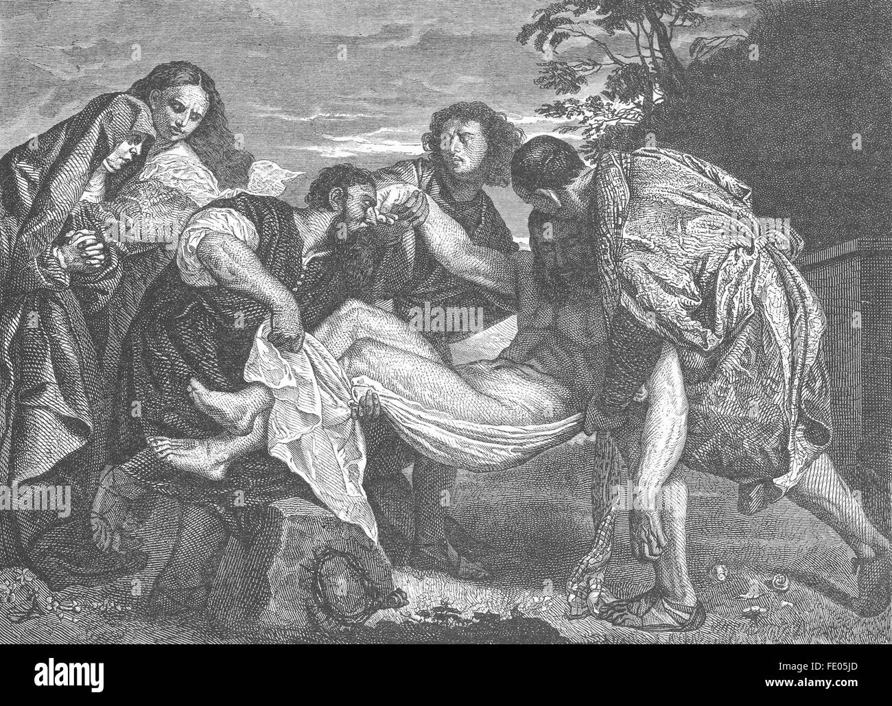 RELIGIOUS: The Entombment-Titian, antique print 1880 - Stock Image