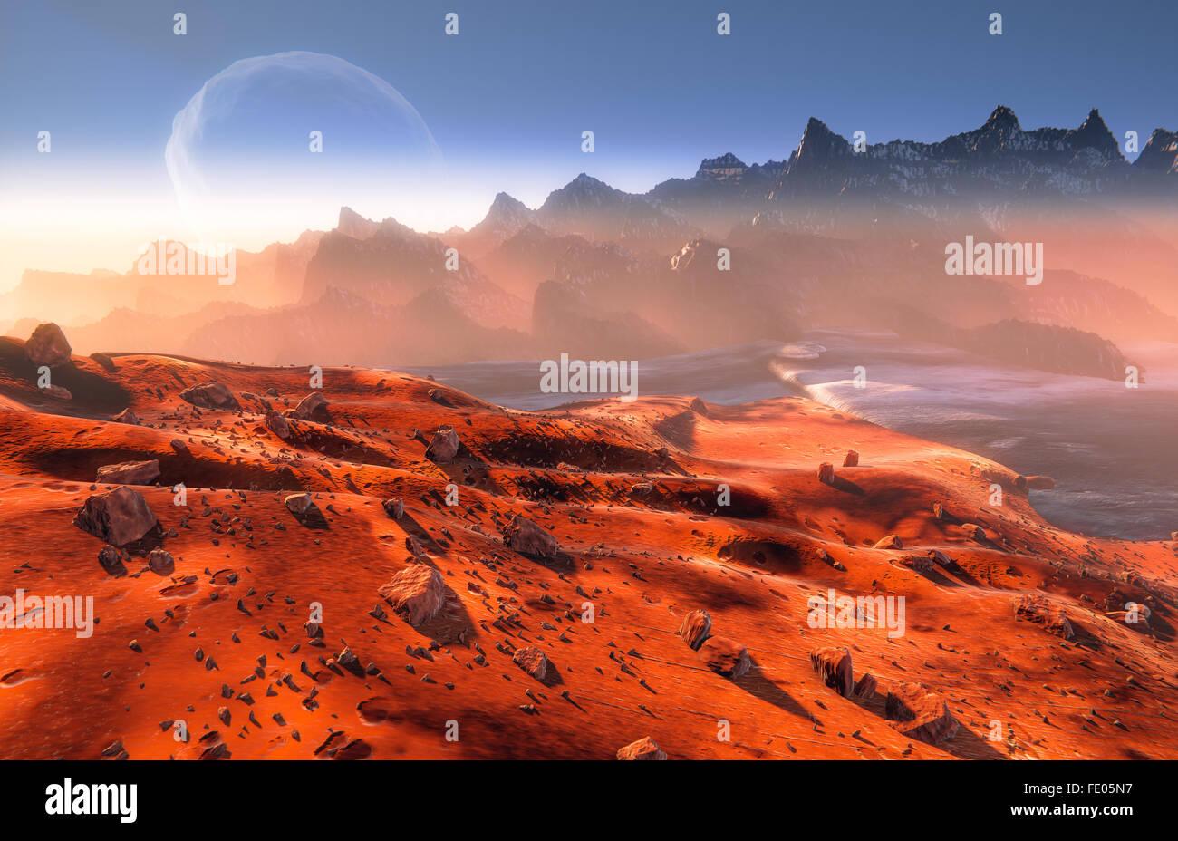 Surface of Mars and Phobos Moon Stock Photo