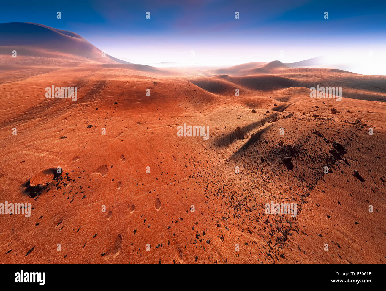 Red surface of planet Mars Stock Photo