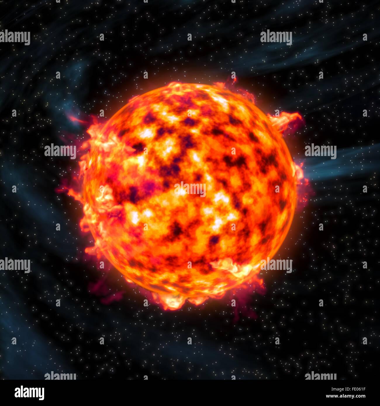Sun star prominences burning Stock Photo