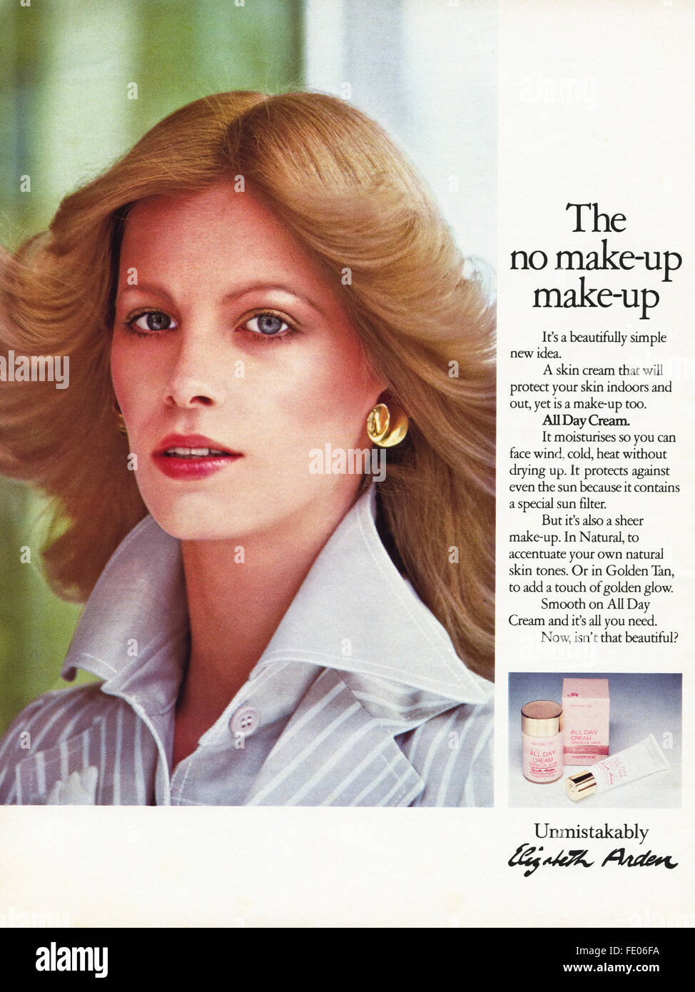 Original full page colour vintage advert from 1970s. Advertisement dated 1978 advertising Elizabeth Arden make-up - Stock Image