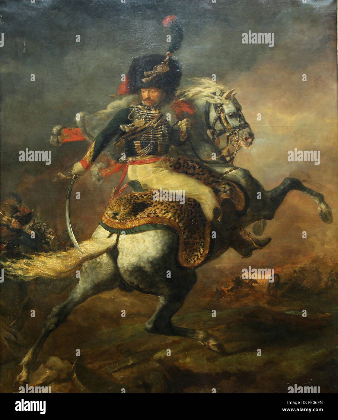 The Charging Chasseur, 1812 by French painter Eugene Delacroix (1798-1863). Oil on canvas. Louvre Museum, Paris, - Stock Image