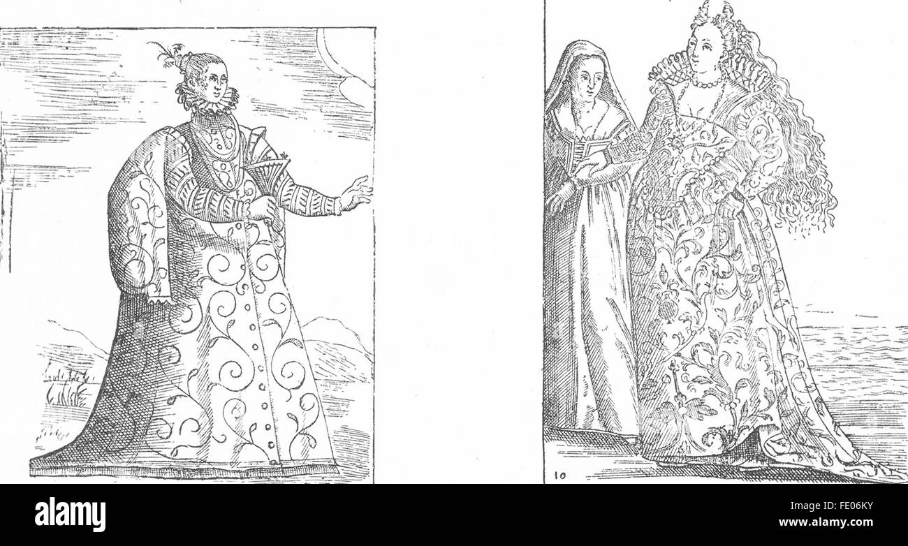 BERTELLI: Trevisan Matron; Venetian Lady, antique print 1880 - Stock Image