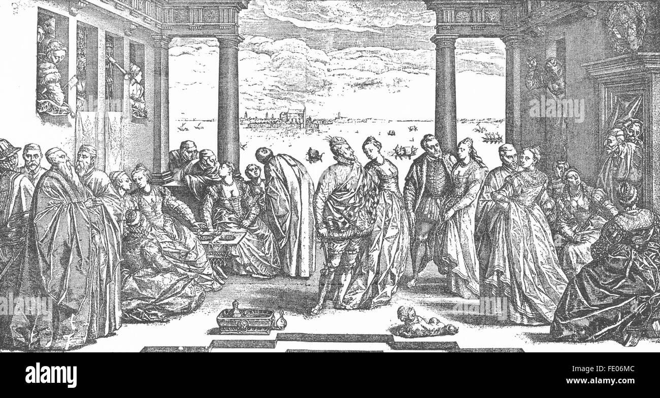 VENICE: Venetian wedding, 16th Century, antique print 1880 - Stock Image