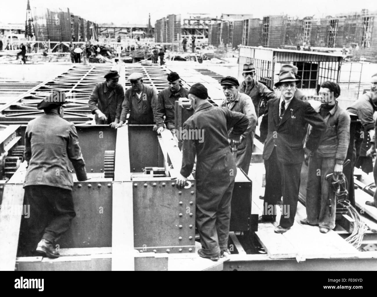The Nazi propaganda picture shows construction works on a Stock ...