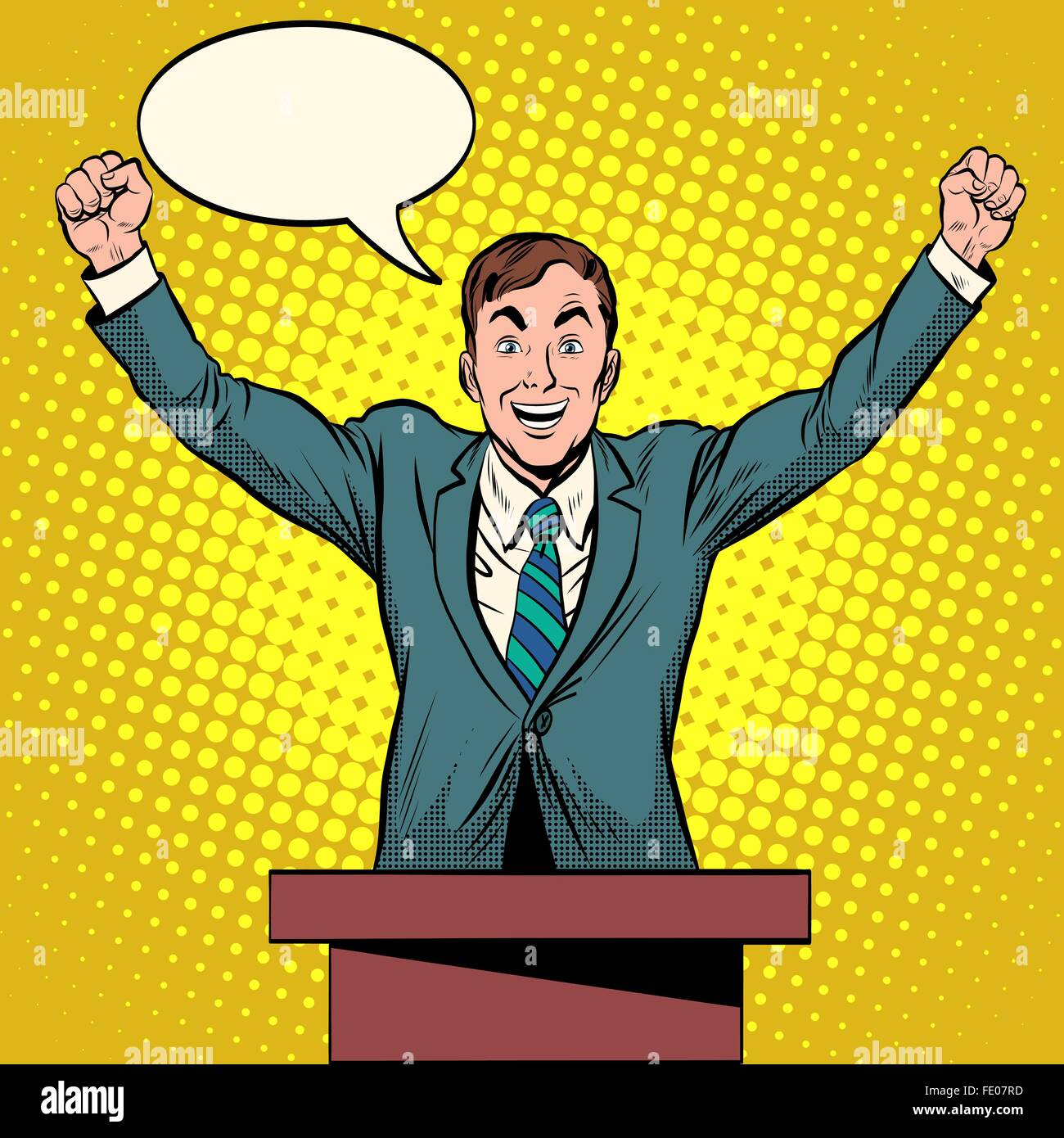 Speaker candidate speech at the podium - Stock Vector