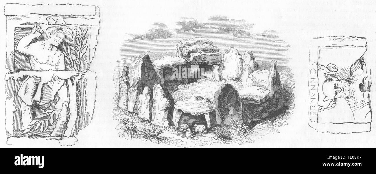 JERSEY: Druid circle; Gaulish gods: Hesus, Cernunnos, antique print 1845 - Stock Image