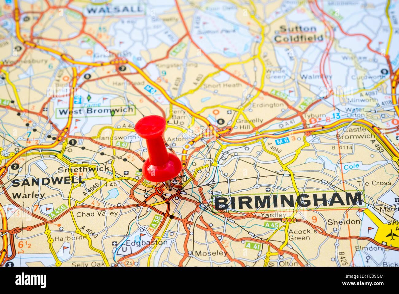 Map pin marking Birmingham City, United Kingdom. - Stock Image
