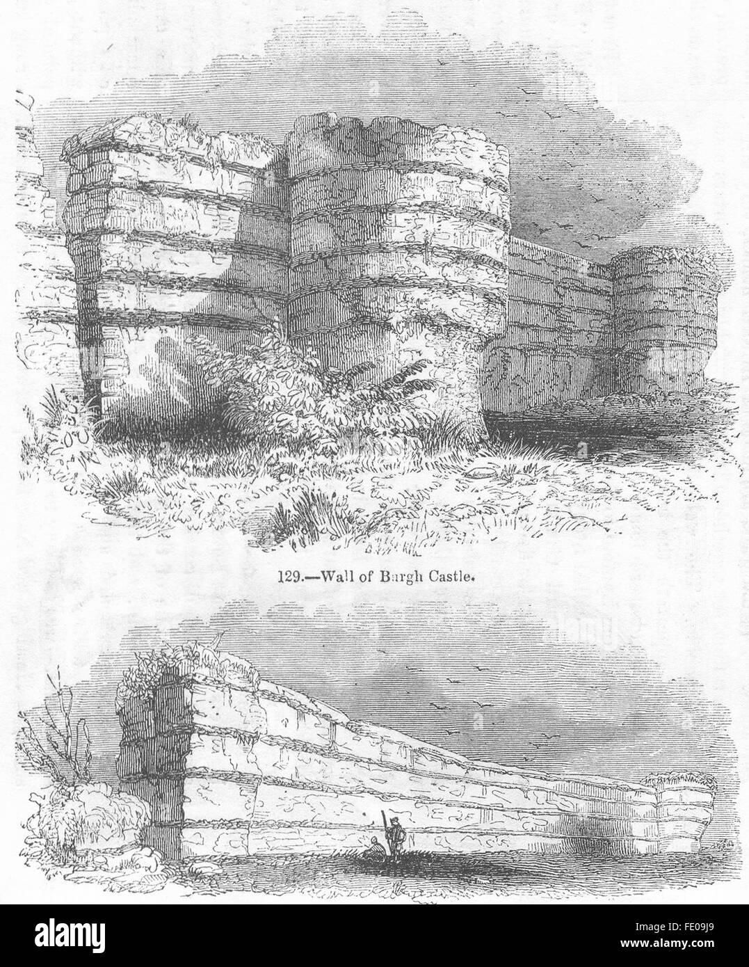 Antique Print 1847 NORFOLK An Excursion to Burgh castle