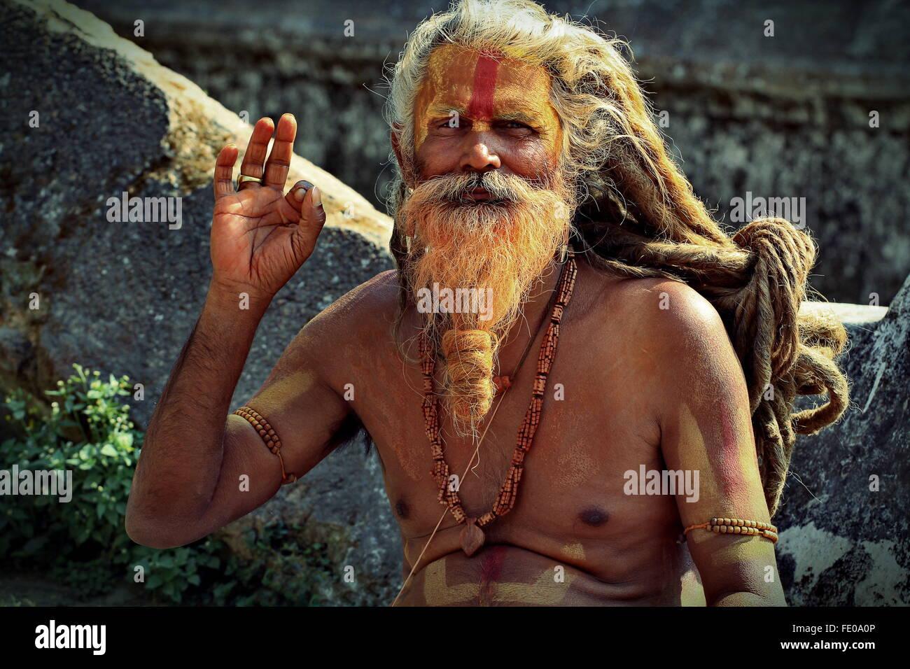 Sadhu or Holy Man in Pashupatinath temple in Kathmandu Valley, Nepal - Stock Image