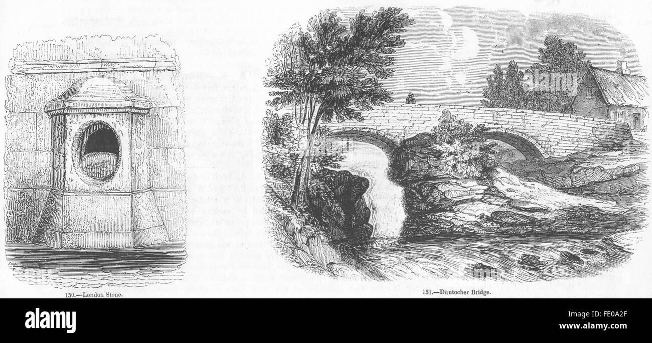 LONDON: Stone; Duntocher Bridge, antique print 1845 - Stock Image